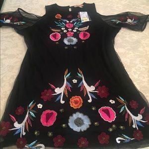 NWT Black Mesh BOHO Cold Shoulder Embroider Tunic